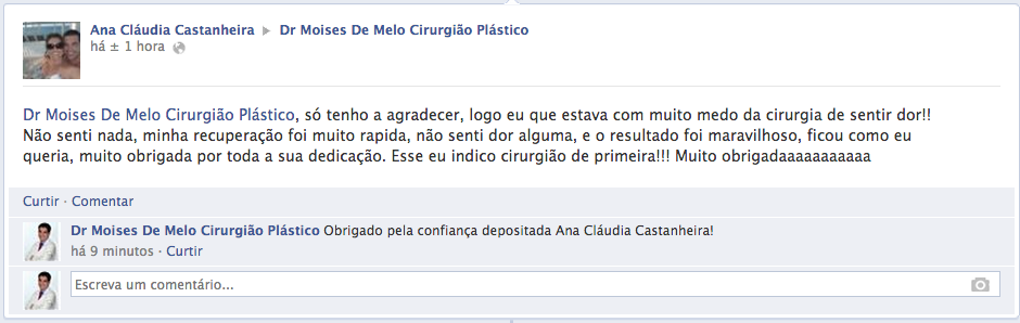 Depoimento sobre cirurgia plástica Ana Claudia