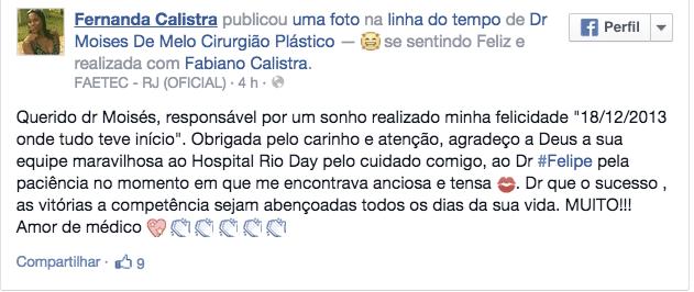 Depoimento sobre cirurgia plástica – Fernanda Calistra