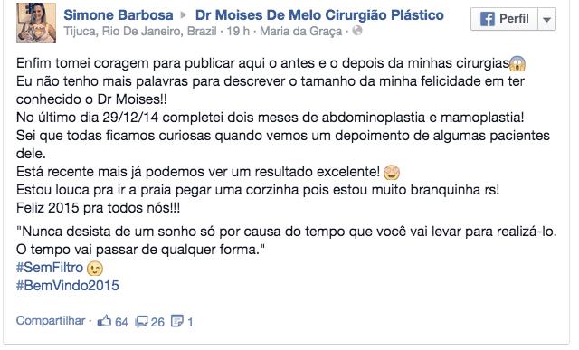 Depoimento sobre cirurgia plástica – Simone Barbosa 2
