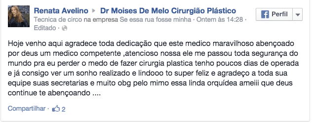 Depoimento sobre cirurgia plástica –