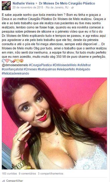Nathalie Vieira depoimento cirurgia plastica