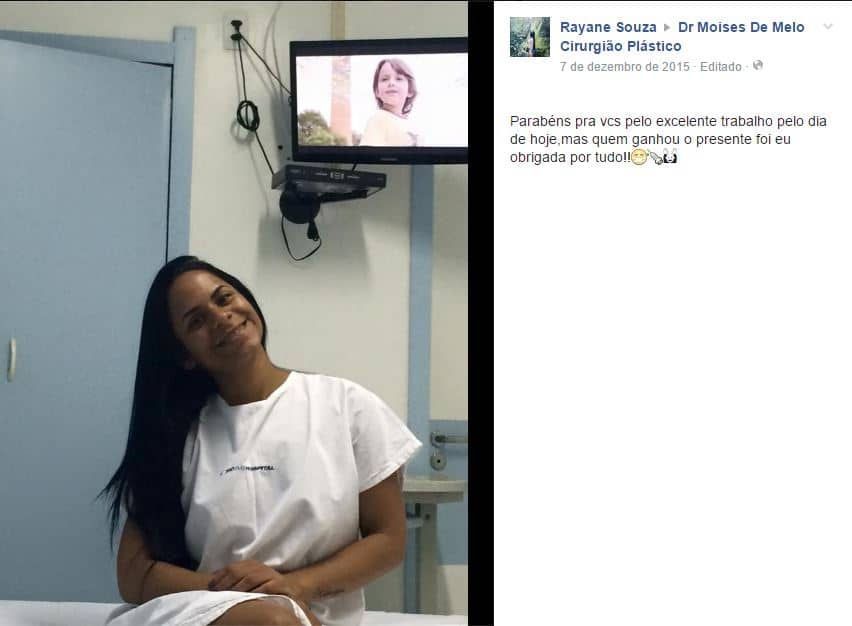 Rayane Souza depoimento cirurgia plastica