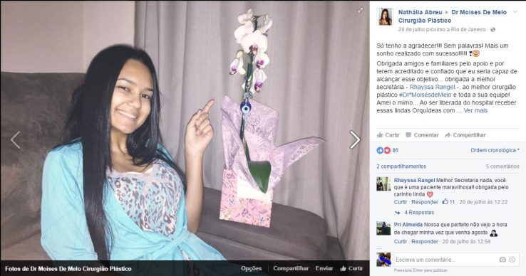 Depoimento sobre cirurgia plástica por Nathália Abreu