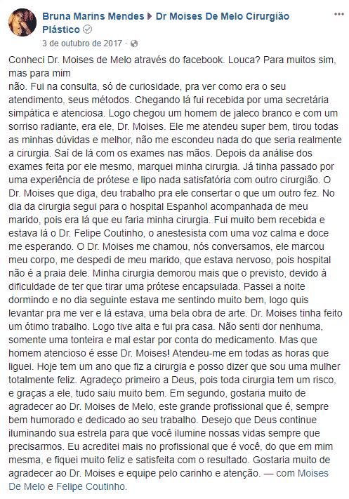 Depoimento sobre cirurgia plástica por Bruna Marins Mendes