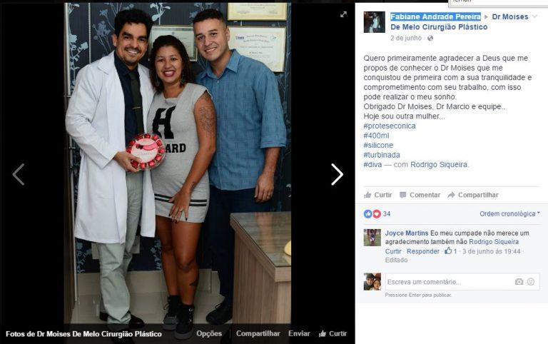 Depoimento sobre cirurgia plástica por Fabiane Andrade Pereira