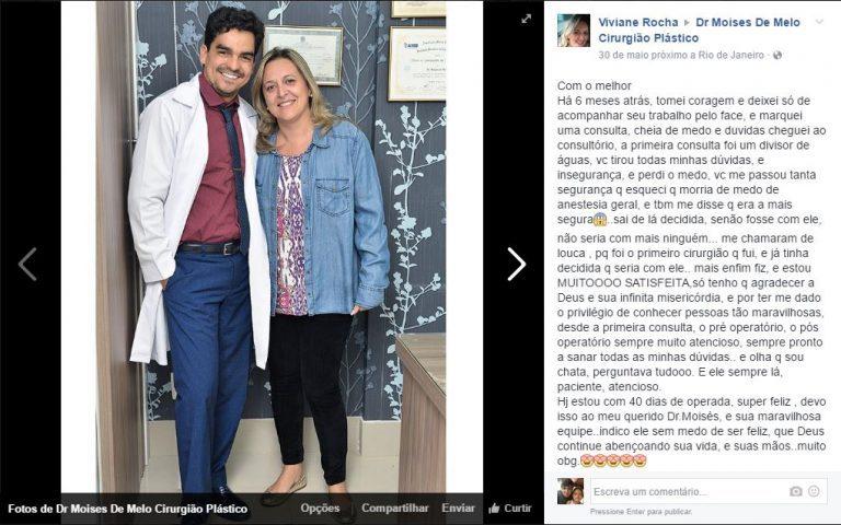 Depoimento sobre cirurgia plástica por Viviane Rocha