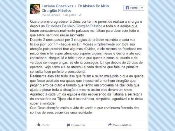 Depoimento sobre cirurgia plástica Luciana Gonçalves